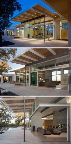 This modern house features sliding glass doors that open up completely to create an indoor/outdoor living experience.