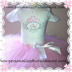 Oh My Goodness!!! Is there a Princess in the house? How sweet is our darling little Tiara Monogram Tutu Sets, perfect for the prettiest of princesses by Personalised Tutu's Amore?!   With swirls and scrolls in shades of grey and crowned with a beautiful pink Tiara (crown)on top it is made to co-ordinatewith a tutu party skirt for your little girl inthe colours of baby pink and white. This set also comes in Lilac/Grey and Sea Green Aqau/ Grey and looks beautiful in these