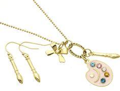 Art Artist Gift Palette Pallet Paint Brush Crystals Gold Necklace Earrings USA #REVE #Pendant Art Teacher Gift