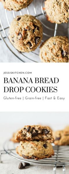 No longer do you have to wait so long for a loaf of banana bread to bake. Throw together these delicious banana bread drop cookies in a matter of minutes. Just a few simple ingredients that make these cookies gluten-free and dairy-free. Guaranteed to be a crowd pleaser.