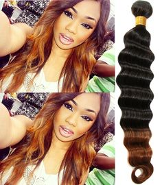 "Brazilian Ombre Human Hair Extension 10""-30"" 1B/30#,Deep Wave,50g/pc,Hot Sale #WIGISS #HairExtension"
