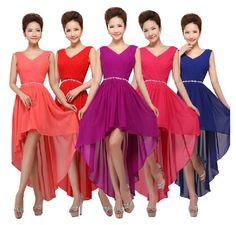 >> Click to Buy << Vestido madrinha 2017 new sexy v neck shiny diamond chiffon high low bridesmaid dresses coral color plus size cheap abito damige #Affiliate