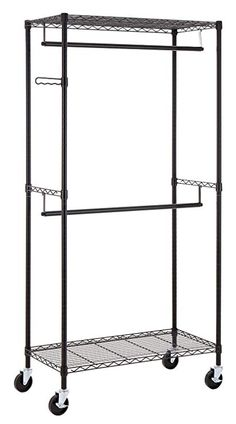 Finnhomy Heavy Duty Rolling Garment Rack Clothes Hangers with Double Rods and Shelves Black Thicken Steel Tube Kitchen Space Savers, Drying Rack Laundry, Portable Closet, Hanging Bar, Garment Racks, Wire Shelving, Closet Shelving, Steel Shelving, Storage Spaces