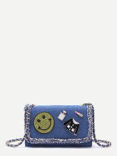 270de38129f7 Product name  Blue Denim Rhinestone Raw Edge Flap Messenger Bag at SHEIN