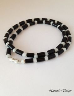Black and White Men's Necklace with Cat's Eye by LanniesDesign