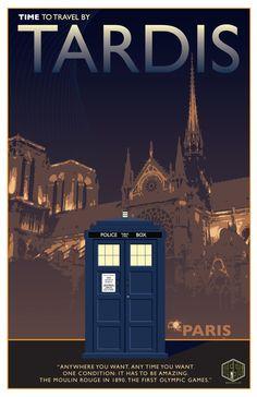 #TravelByTARDIS vintage poster series - Paris