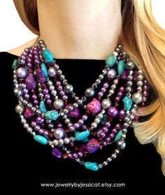 Purple, turquoise, silver, and deep gray in one amazingly awesome, bold statement necklace! So much sparkle, so much color!     CLASSIC Statement Necklace Bright Purple by JewelryByJessicaT,