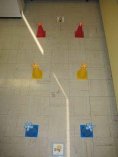 Atelier d'orientation spatiale. Suivre les indications sur les cartes (voir photo suivante) Vu sur facebook - Préscolaire: les enseignantes échangent leurs idées et conseils - de Karine Ponton