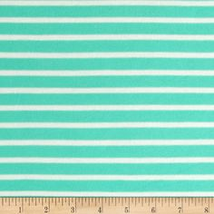 Stretch Rayon Jersey Knit Small Stripe Seafoam/Off White from @fabricdotcom  This versatile fabric is perfect for creating stylish tops, tanks, lounge wear, gathered skirts and fuller dresses with a lining. It features a soft hand, fluid drape and four way stretch- 40% stretch across the grain, 15% vertical stretch. It has horizontal yarn dyed stripes.
