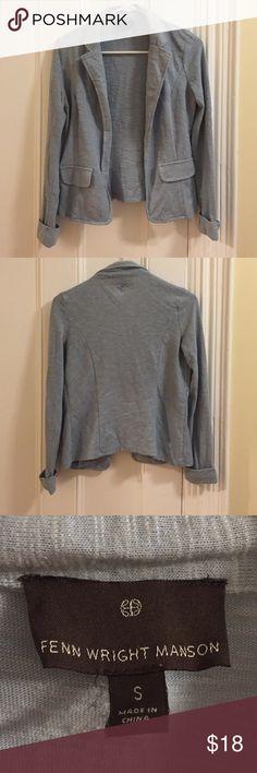 Soft Blue Blazer Cozy blue sweater blazer by Fenn Wright Manson. Worn only a few times, good condition! Fenn Wright Manson Sweaters