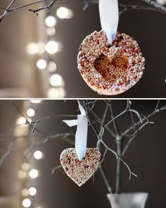 Birds love Christmas, too.  /   ♡ LOVE THIS IDEA!!!  MUSTMUSTMUST MAKE THESE!.....but they need a RED ribbon! ;)  ♥A