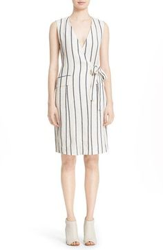 Theory 'Livwilth' Stripe Linen Wrap Dress available at #Nordstrom
