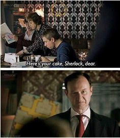 How come I don't get cake Mrs. I'm the freaking British Government. I also think he despises sherlock a love for her Sherlock Fandom, Sherlock Holmes, Funny Sherlock, Sherlock Cast, Moriarty, Mrs Hudson, John Watson, Johnlock, Baker Street