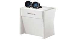 Hunter Night Stand - Pearlescent White Leatherette Finish 20% off $176