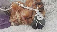 Green and black Fluorite Crystal NecklaceCLEANSED AND
