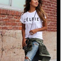 Celfie white t shirt Small cotton t shirt Tops Tees - Short Sleeve