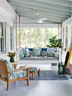 Simple Porch with Swinging Daybed