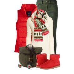 """Casual Red, White & Green for Christmas"" by brendariley-1 on Polyvore"