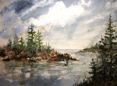 Print Of Original Watercolor landscape painting matted, coastal painting, seascape painting, nature painting, nautical art, rocky seacoast