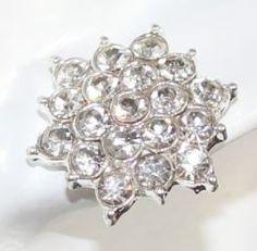 Rhinestone Stud Earrings Large Crystal Flower by JewelryTarget, £10.00