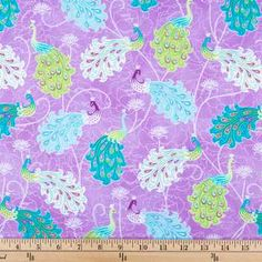 Purple, Teal & Lime Allover Peacock Apparel Fabric
