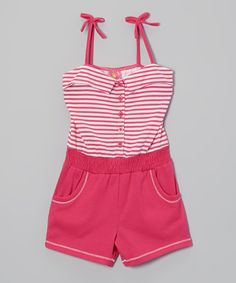 Another great find on #zulily! Fuchsia Stripe Romper - Infant, Toddler & Girls by Diva #zulilyfinds. 12mos-6X, $9.99