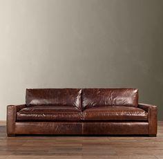 Restoration Hardware 9' Maxwell Leather Sofa