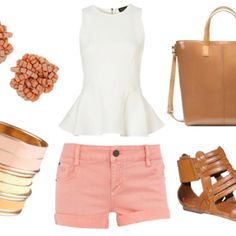 2946944f10c how to wear a white peplum top for day with pink shorts tan leather tote  gladiator sandals pink bead earrings and pastel bangles. want a peplum top  SO BAD!
