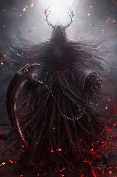 Pin by one eyed king on reaper in 2019 dark fantasy art, grim reaper art, f Dark Fantasy Art, Fantasy Artwork, Dark Art, Gothic Artwork, Dark Creatures, Mythical Creatures, Fantasy Monster, Monster Art, Grim Reaper Art