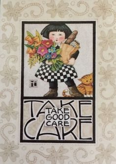 Handmade Fridge Magnet-Mary Engelbreit Artwork-Take Care