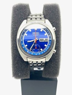 Seiko, All Stainless Steel, 3 O Clock, Blue, Accessories, Jewelry Accessories