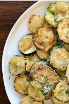 Low carb easy crispy snack idea. Healthy crunchy fried zucchini side dish recipe. #foodtalkdaily
