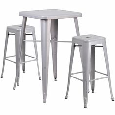 23.75'' Square Silver Metal Indoor-Outdoor Bar Table Set with 2 Backless Barstools, CH-31330B-2-30SQ-SIL-GG | RestaurantFurniture4Less.com