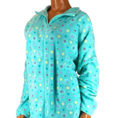 AB54 Jenna Lynn L Cotton Aqua Blue Multi Color Polka Dot Spa Bath Robe Cute | eBay