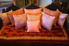 Amazing handmade triple arch jhula daybed, velvet mattress, and sari pillows. Daybed Pillows, Daybed Canopy, Bolster Cushions, Seat Cushions, Living Room Decor Furniture, Bedroom Decor, Christmas Pillow Covers, Sofa Colors, Pillow Room