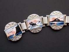 93 David Andersen Norway 925 Sterling Silver Enamel Scenic Bracelet