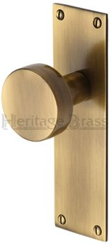 'Orbit' Mortice Door Knobs On Backplate, Antique Brass - ORB-AT None