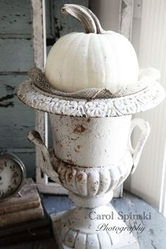 White pumpkin nestled in burlap, and placed in a rusty white urn. White Pumpkin Decor, White Pumpkins, Fall Pumpkins, Shabby Chic Fall, Shabby Chic Style, Shabby Chic Urns, Vases, Orange Braun, Autumn Decorating