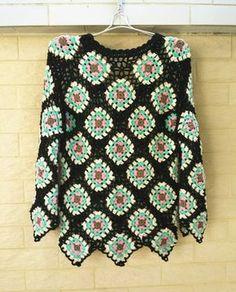 Crochet Granny Square Sweater Long Sleeve Women by TinaCrochet2016