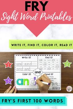 This set of Fry Sight Word printables will keep your students engaged and practicing the first 100 Fry words. These sight word worksheets give students writing practice and reading practice. If your Kindergarten or First Grade students are working on sight words this set is for you! #kindergartenlearning #kindergartenliteracy #kindergartensightwords #firstgradeliteracy #firstgradelearning #sightwords