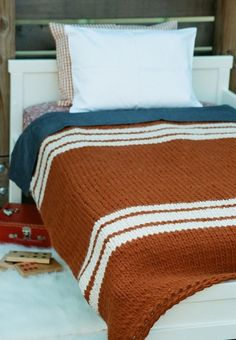 "Hand-Made Blanket - Bulky Tennis Stripes Pumpkin About W 40"" x L 48"" (W 102 x L 123 cm) $550.00  50% Alpaca & 50% Wool  Yarn from Peru    MADE TO ORDER"