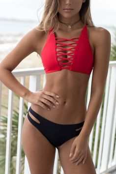 Shore Of Yourself Red Seamless Hi-Neck Bikini Top