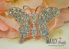Butterfly Rhinestone Brooch  Wedding Jewelry  by DIYBoutiqueSupply, $5.95