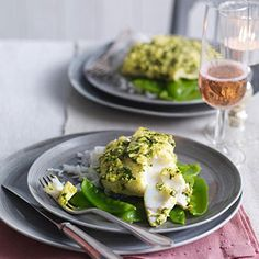 Grilled cod with basil and lemon grass