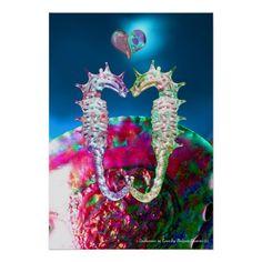 SEAHORSES IN LOVE AND PINK BLUE MOTHER OF PEARL Original Digital Art Print by Bulgan Lumini (c)