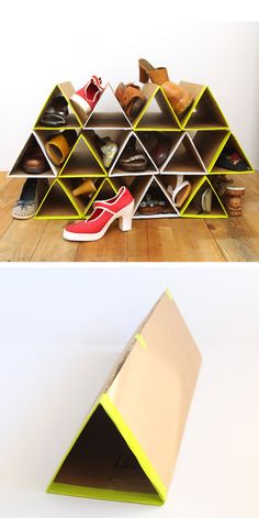Genius Shoe Storage Hacks If Your Closet Space Sucks DIY this space-saving cardboard shoe rack.DIY this space-saving cardboard shoe rack.