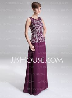 A-Line/Princess Scoop Neck Ankle-Length Chiffon Mother of the Bride Dress With Lace (008006401)
