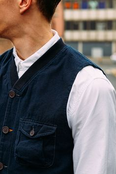 Over Dyed Re-Works Available exclusively at our Berwick Street Store.  Angler Waistcoat O/D