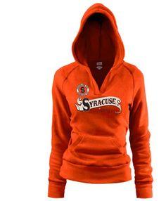 Syracuse Orange Ladies Orange Rugby Distressed Deep V-neck Hoodie Sweatshirt