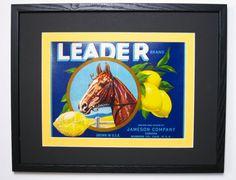 1930s Original Sunkist Leader Brand, Lemon Fruit Crate Label w. New Conservation Framing, Art Deco Style, CA. USA.        by FruitCrateLabelArt, $95.00